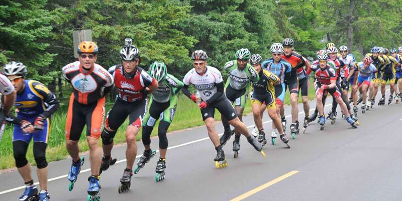 Skaters are allowed to use cross-drafting in the Apostle Islands Inline race held on Madeline Island in Ashland County.