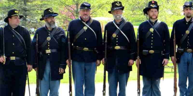 Company K Honor Guard at a dedication ceremony, during Civil War homefront activities weekend in Evansville