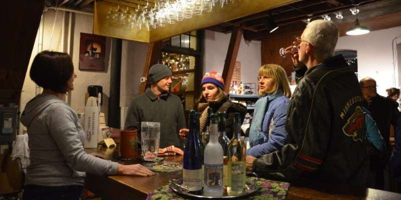 Sampling Christmas Blush wine is popular at Cedar Creek Winery