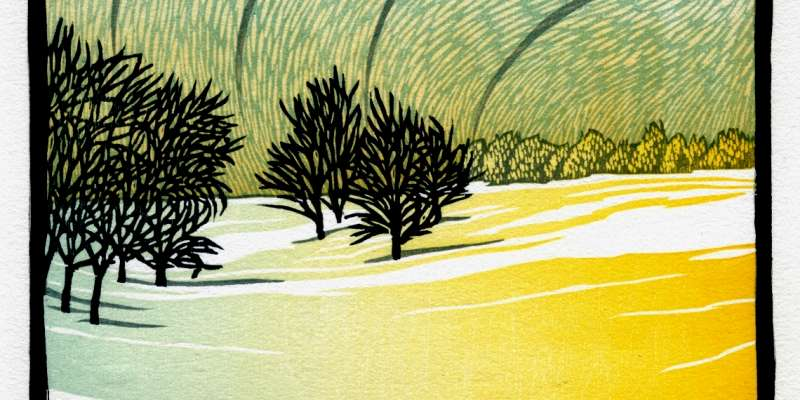 "Wisconsin woodcut artist, Nick Wroblewski, will be one of the featured artists in Out of the Woods: Contemporary Woodblock Prints. This work is entitled, ""Descending Frost."""