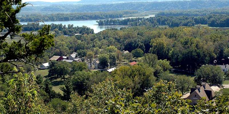 Stonefield Village and the Mississippi River, seen from the bluffs of Nelson Dewey State Park