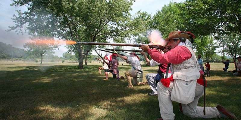 Riflemen fire during the annual battle re-enactment