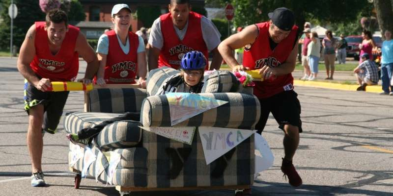 YMCA Couch Potato Race on Saturday morning brings out the local color.