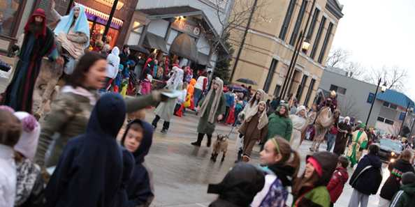 A live nativity is held after the parade during downtown Oconomowoc's Christmas Open House event.