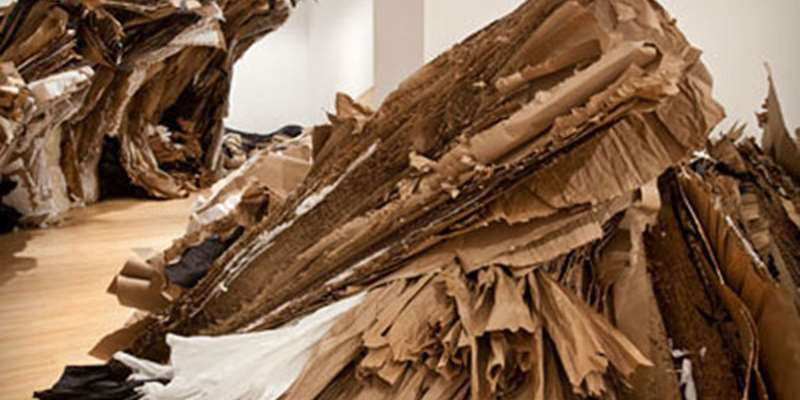 Wade Kavanaugh and Stephen B. Nguyen, Rush to Rest, 2013; cardboard, paper, wood; dimensions as installed. Courtesy of the artists.