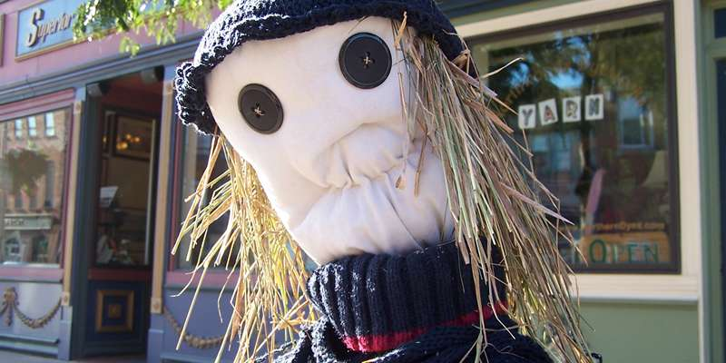 Cleverly crafted scarecrows add to the charm of MarketFest.
