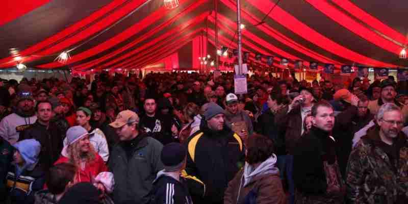 Battle on Bago attendees in event tent