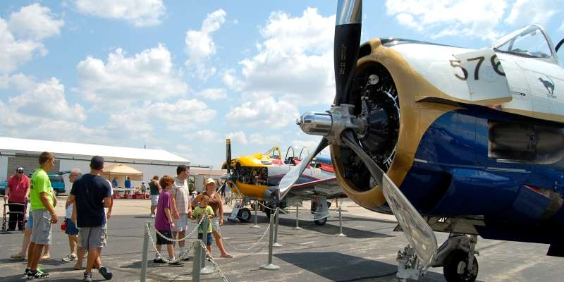 Homebuilt warbirds are popular attractions at the annual Friends of the East Troy Airport Open House, including this T-6, which is being restored. (Vanessa Lenz photo)