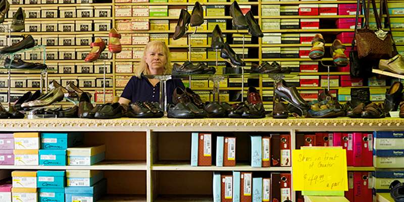 Carl Corey, Theresa Mezera – Panka Shoe Store, Prairie Du Chein, Exposure 2011 / print later, Photographic Pigment Print.