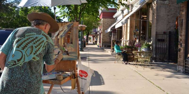 Artists flock to Cedarburg in June for the Plein Air Painting event. The paintings are exhibited and sold at the Cedarburg Cultural Center during Strawberry Festival.
