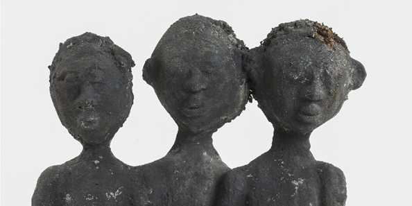 Dr. Charles Smith, Three Children (detail), c. 1985-c. 1999; concrete, paint, and mixed media; 37 x 16 3/4 6 in. John Michael Kohler Arts Center Collection, gift of Kohler Foundation Inc.