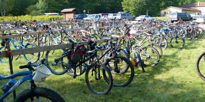 "A ""sea"" of bike waiting for their turn!"