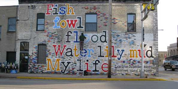 Poetry Wall in Fort Atkinson by artist Jeremy Pinc