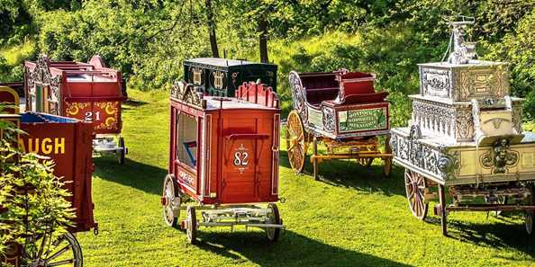A few of the priceless circus wagons featured in Baraboo's Big Top Parade return to the Circus World grounds.