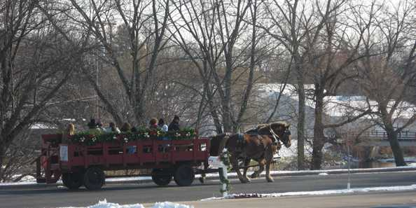 Classic horse drawn wagon ride through the village