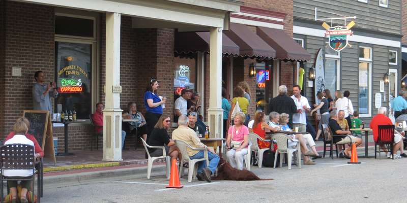 The community gathers at the Fall Art Walk in Downtown Delafield