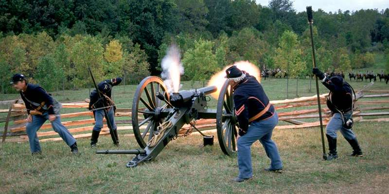 A Union artillery unit fires its cannon