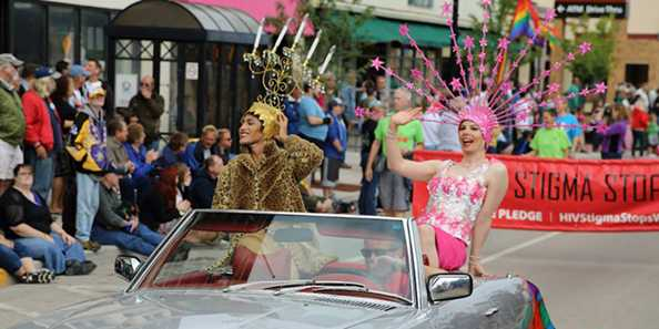 2014 Pride Parade on Tower Avenue in Superior. Photo courtesy of the Duluth Superior Pride Facebook page.