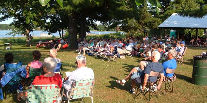 Siren's Crooked Lake is a beautiful location for enjoying a warm summer's evening while listening to a wonderful concert at the band shell.
