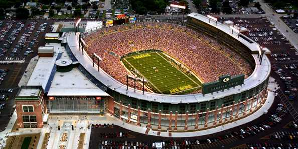 Lambeau Field, home of the Green Bay Packers.