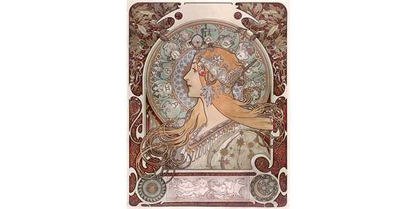 "Alphonse Mucha, ""Zodiac,"" 1896, color lithograph on silk, photograph by John Faier, © 2019"