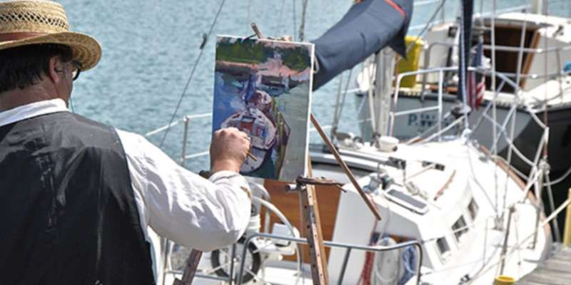 Artist Jason Prigge captures the good life dockside in Port Washington.
