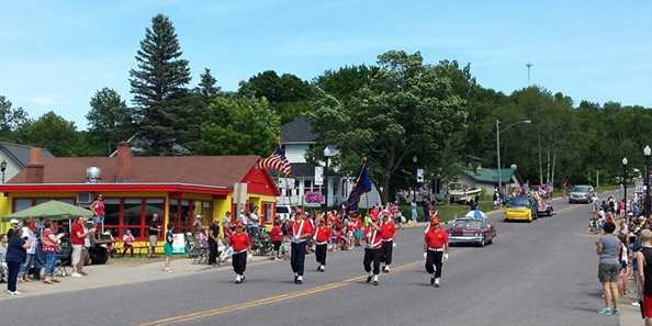 Phelps, WI Fourth of July Parade - Kids can safely retrieve candy!!!