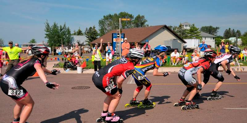 Inline racers speed around one of the turns during a past Apostle Islands Inline Marathon.