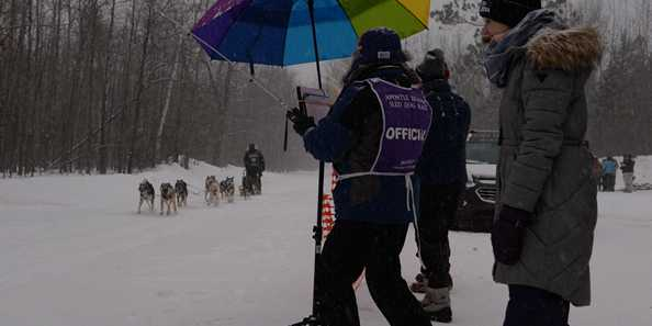 One of the checkpoints along the Apostle Islands Sled Dog Race