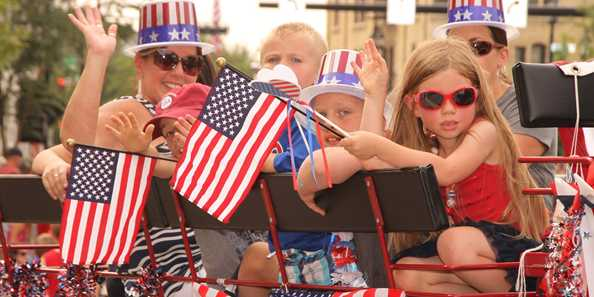 Lots of red, white and blue in the annual Fourth of July Parade.