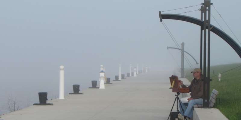 Founding member of WI Plein Air Painters Assoc., Thomas Buchs finds intriguing contrasts in Port Washington fog.