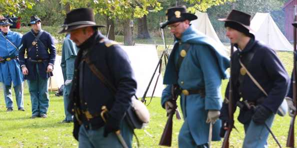 Watch re-enactors of the Civil War