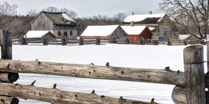 A historic farmstead in winter