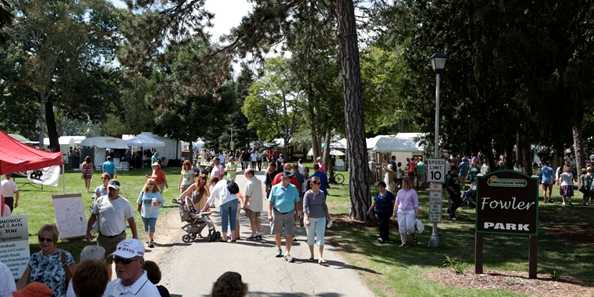 Stroll through hundreds of vendors in Fowler Park during the Festival of the Arts juried art fair.