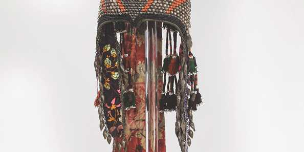 Tekke Wedding Headdress, Turkmenistan, early twentieth century, metal, beads, cotton, silk, © 2017, courtesy of Hat Horizons