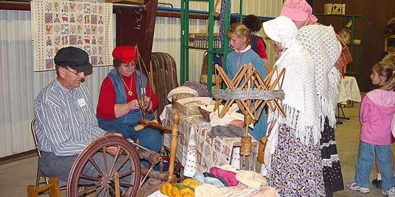 Old-Time Spinning is demonstrated at the Old Time Gathering