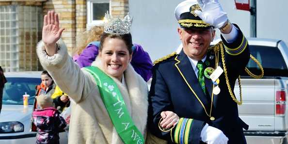 The St. Paul Winter Carnival Royalty join the annual Siren St. Patrick's Day Parade.