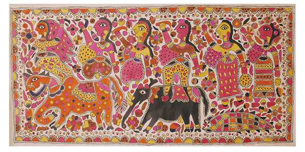 "Jamuna Devi, ""Raja Salhesh with his two brothers and three flower maidens,"" c. 2000, natural dyes on paper"