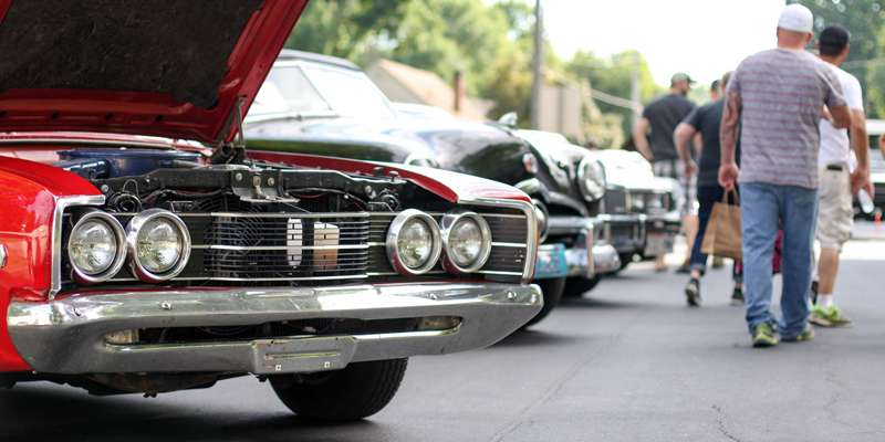 Listen to music and stroll through the classic car show.