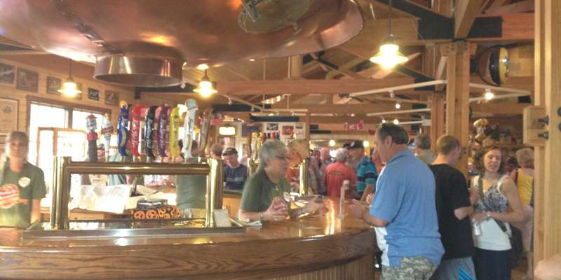Tasting bar inside Leinie Lodge