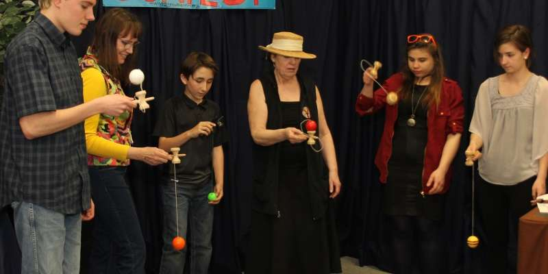 Kendama Contest, round one.  Everyone can try, fun for all.