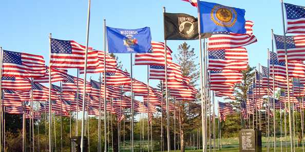 Veteran's Flag Park located on Hwy 14 West by American Legion Post 13, 900 Flag Park Dr., Richland Center, WI.