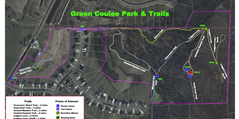 Greens Coulee Park Trail Map
