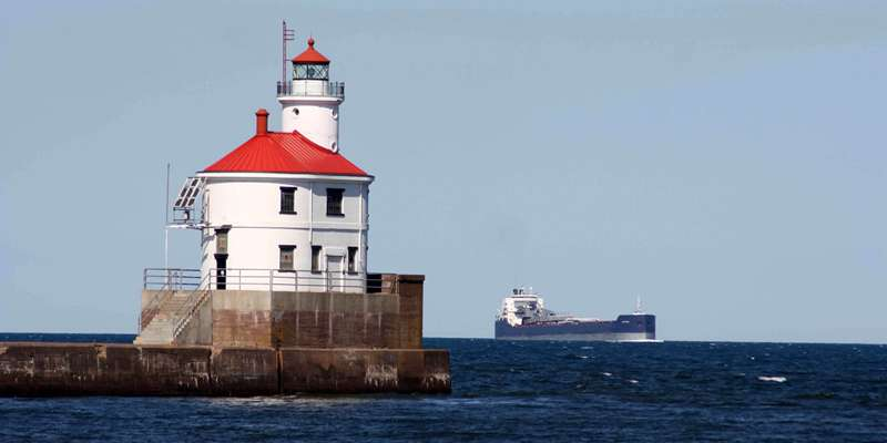 Superior Entry Lighthouse and Ship