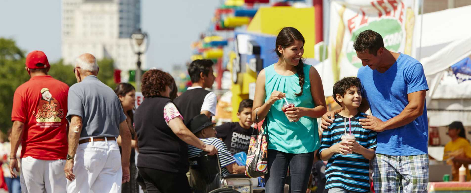 Hispanic Family enjoy Mexican Fiesta