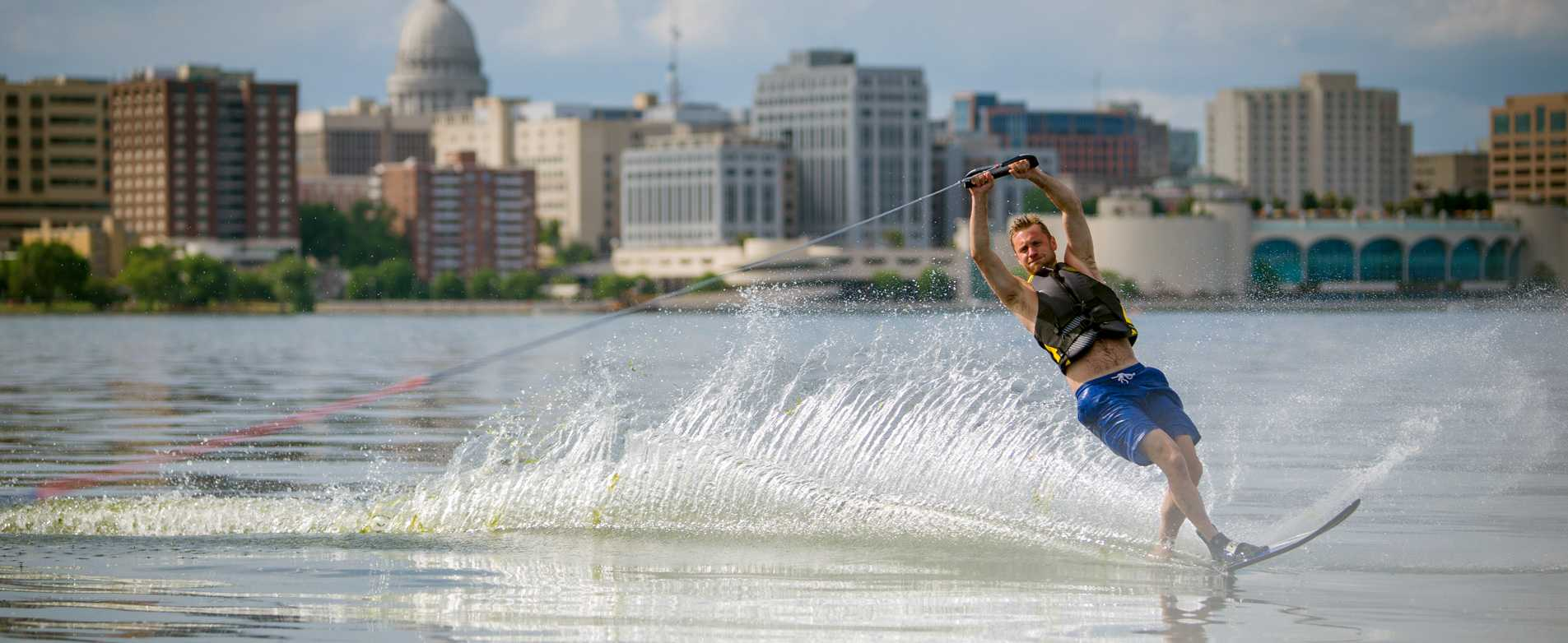 Man Water Skiing on Lake Monona