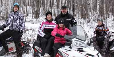 Rose Family on Snowmobiles