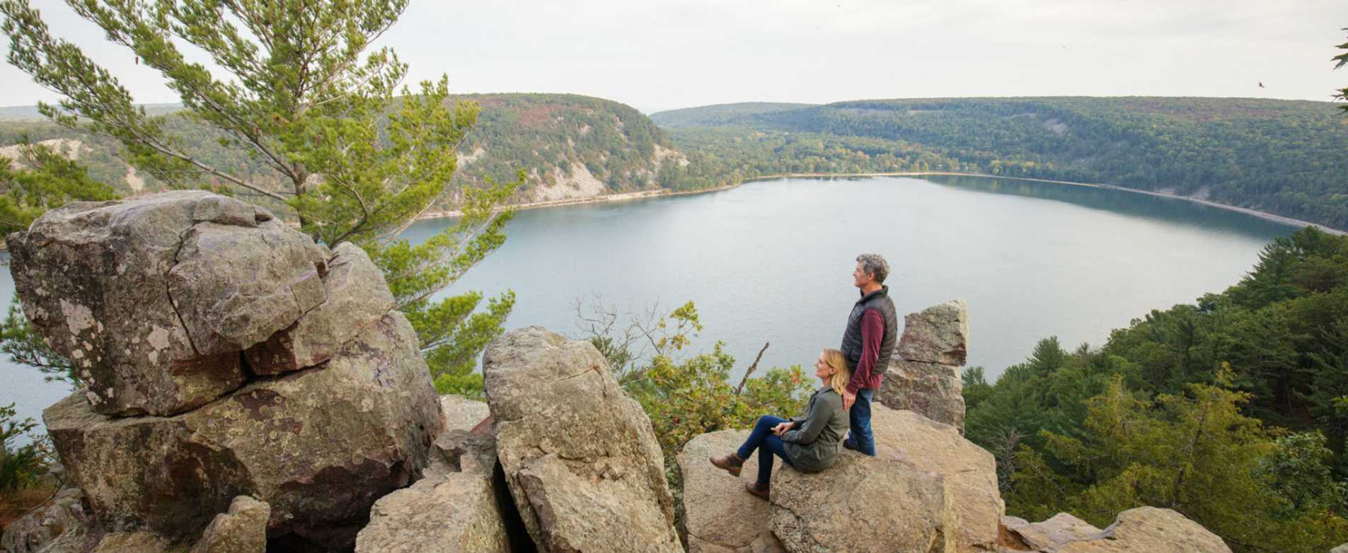 Couple enjoying scenic overlook at Devils Lake State Park