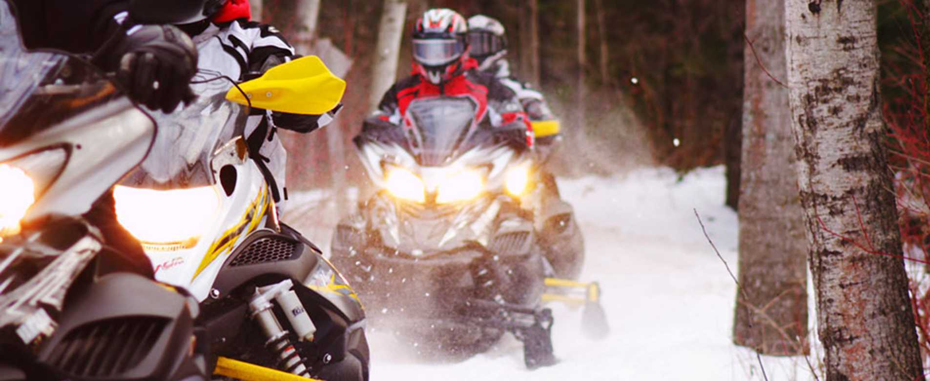 Snowmobiles on Trail