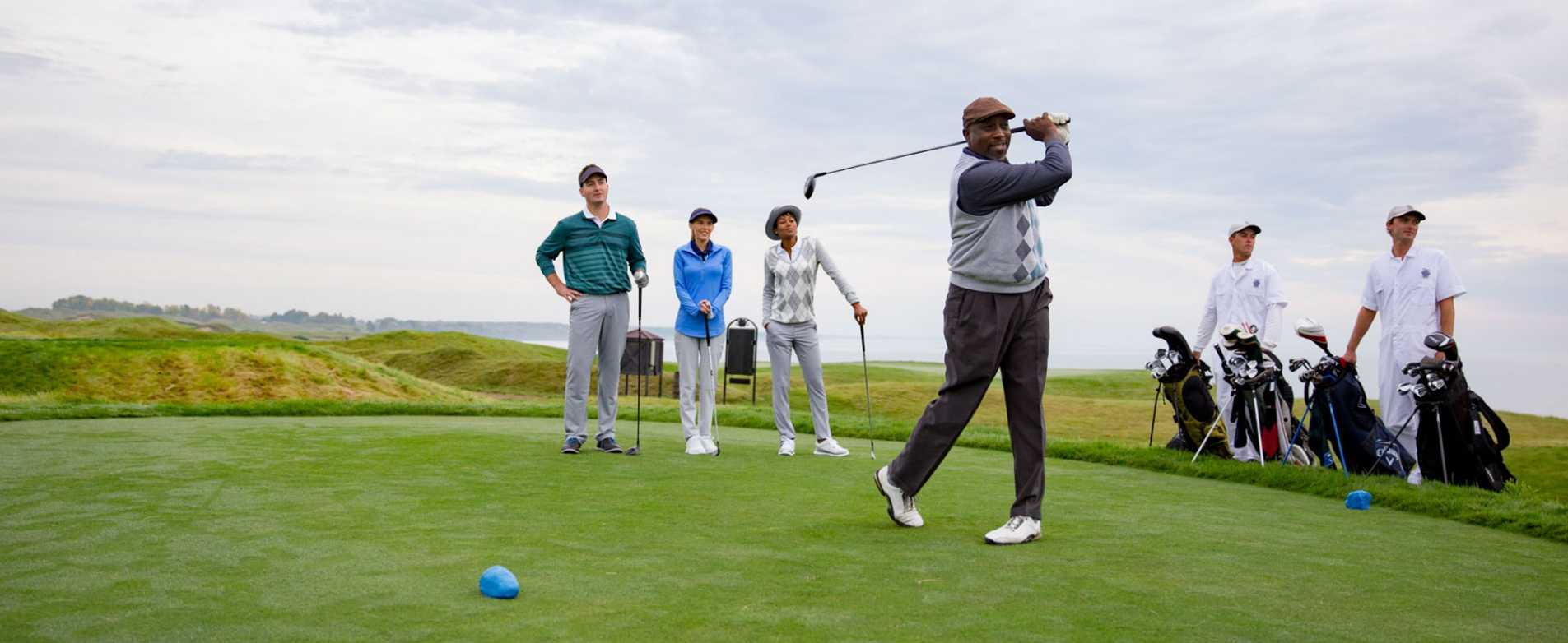 Man Teeing Off at Whistling Straits Golf Course